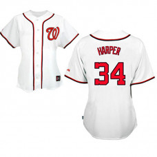 Women - Washington Nationals #34 Bryce Harper White Fashion Jersey