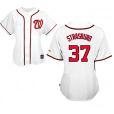 Women - Washington Nationals #37 Stephen Strasburg White Fashion Jersey