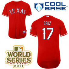 YOUTH Texas Rangers #17 Nelson CruzRed Alternate 1 Cool Base 2011 World Series Patch Jersey
