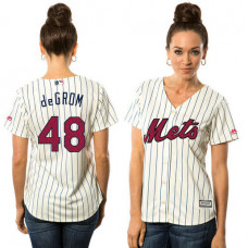 Women - New York Mets Jacob deGrom #48 White 2016 Independence Day Stars & Stripes Cool Base Jersey