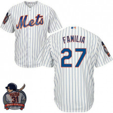 New York Mets #27 Jeurys Familia White Cool Base Jersey with Piazza Patch