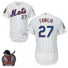 New York Mets #27 Jeurys Familia White Flex Base Jersey with Piazza Patch