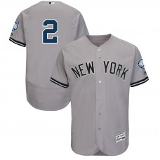 New York Yankees Derek Jeter #2 Grey Retirement Patch Road Flex Base Jersey