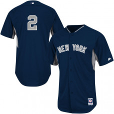 New York Yankees #2 Derek Jeter On-Field Navy Official Cool Base Jersey