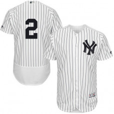 New York Yankees Derek Jeter #2 White Authentic Collection Flexbase Player Jersey