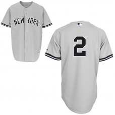 YOUTH New York Yankees #2 Derek JeterGrey Away Jersey