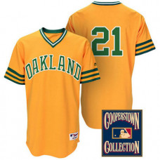 Oakland Athletics #21 Stephen Vogt Gold Turn Back the Clock Throwback Jersey
