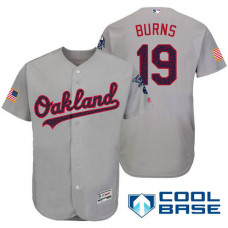 Oakland Athletics #19 Billy Burns Grey Stars & Stripes 2016 Independence Day Cool Base Jersey