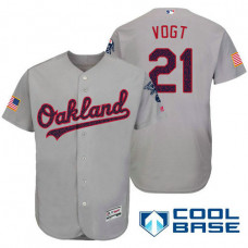 Oakland Athletics #21 Stephen Vogt Grey Stars & Stripes 2016 Independence Day Cool Base Jersey