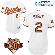 Baltimore Orioles #2 J.J. Hardy Authentic White Home Cool Base Jersey