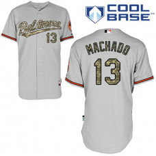 Baltimore Orioles #13 Manny Machado Authentic Grey USMC Cool Base Jersey