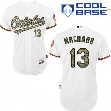 Baltimore Orioles #13 Manny Machado Authentic White USMC Cool Base Jersey