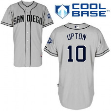 San Diego Padres #10 Justin Upton Authentic Grey Away Cool Base Jersey