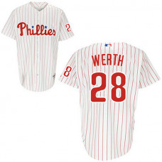 YOUTH Philadelphia Phillies #28 Jayson WerthWhite Red Strip Home Jersey