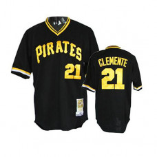 Pittsburgh Pirates #21 Roberto Clemente Black Alternate Throwback Jersey