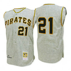 Pittsburgh Pirates #21 Roberto Clemente 1962 Grey Thhrowback Jersey