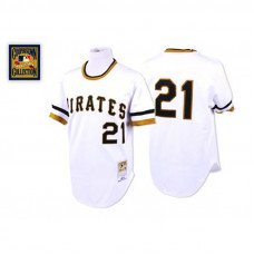 Pittsburgh Pirates #21 Roberto Clemente White Home Throwback Jersey