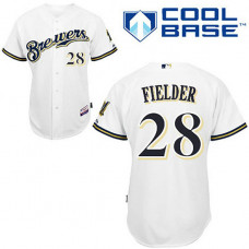 YOUTH Milwaukee Brewers #28 Prince FielderWhite Home Cool Base Jersey