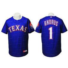 Texas Rangers #1 Elvis Andrus Authentic Watermark Fashion Navy Jersey