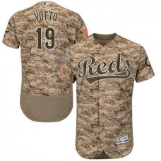Cincinnati Reds #19 Joey Votto Camo Flexbase Authentic Collection Player Jersey
