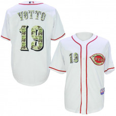 Cincinnati Reds #19 Joey Votto White Camo Cool Base Jersey