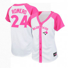 Women - Toronto Blue Jays #24 Ricky Romero White/Pink Splash Fashion Jersey