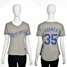 Women - Kansas City Royals #35 Eric Hosmer Grey 2016 Cool Base Jersey
