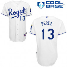 YOUTH Kansas City Royals #13 Salvador PerezAuthentic White Home Cool Base Jersey