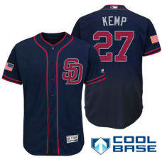 San Diego Padres #27 Matt Kemp Navy Stars & Stripes 2016 Independence Day Cool Base Jersey