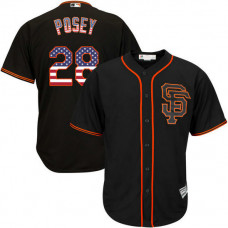 San Francisco Giants #28 Buster Posey Black Stars and Stripes Cool Base Jersey