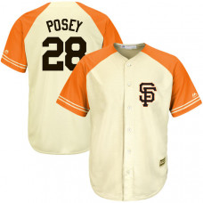 San Francisco Giants #28 Buster Posey Cream/Orange Cool Base Fashion Player Jersey