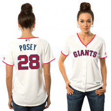 Women - San Francisco Giants Buster Posey #28 White 2016 Independence Day Stars & Stripes Cool Base Jersey