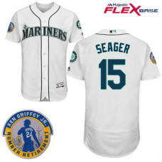 Seattle Mariners #15 Kyle Seager White Commemorative Retirement Path Flex Base Jersey