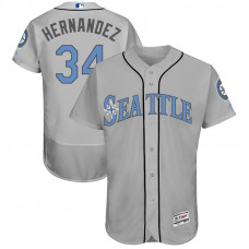 Felix Hernandez #34 Seattle Mariners 2017 Father's Day Grey Flex Base Jersey