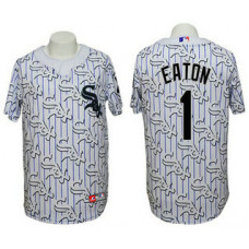 Chicago White Sox #1 Adam Eaton Conventional 3D Version White Jersey