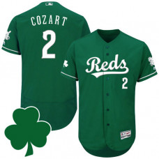 Cincinnati Reds #2 Zack Cozart St. Patricks Day Green Celtic Flexbase Authentic Collection Jersey