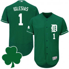 Detroit Tigers #1 Jose Iglesias St. Patricks Day Green Celtic Flexbase Authentic Collection Jersey