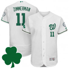 Washington Nationals #11 Ryan Zimmerman St. Patricks Day Green Celtic Flexbase Authentic Collection Jersey