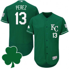 Kansas City Royals #13 Salvador Perez St. Patricks Day Green Celtic Flexbase Authentic Collection Jersey