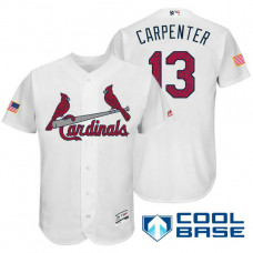 St. Louis Cardinals #13 Matt Carpenter White Stars & Stripes 2016 Independence Day Cool Base Jersey