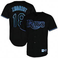 Tampa Bay Rays #18 Ben Zobrist Black Fashion Jersey