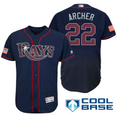 Tampa Bay Rays #22 Chris Archer Navy Stars & Stripes 2016 Independence Day Cool Base Jersey