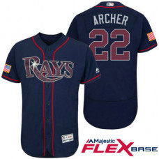 Tampa Bay Rays #22 Chris Archer Navy Stars & Stripes 2016 Independence Day Flex Base Jersey