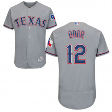 Texas Rangers #12 Rougned Odor Road Grey Authentic Collection Flex Base Jersey
