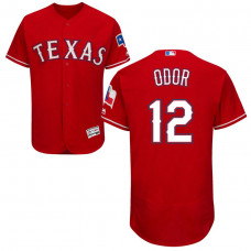 Texas Rangers #12 Rougned Odor Alternate Scarlet Authentic Collection Flex Base Jersey