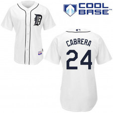 YOUTH Detroit Tigers #24 Miguel CabreraWhite Cool Base Jersey