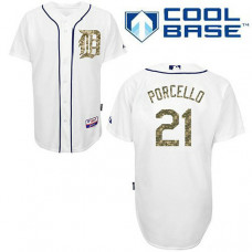 Detroit Tigers #21 Rick Porcello Authentic White USMC Cool Base Jersey