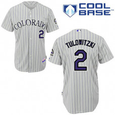 YOUTH Colorado Rockies #2 Troy TulowitzkiGrey Road Blue Strip Cool Base Jersey