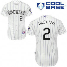 YOUTH Colorado Rockies #2 Troy TulowitzkiWhite Strip Home Cool Base Jersey