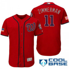 Washington Nationals #11 Ryan Zimmerman Red Stars & Stripes 2016 Independence Day Cool Base Jersey
